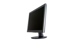 Wide Screen Computer Monitor at angle Stock Photography