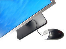 Wide Screen LCD Computer Monitor and Mouse Stock Photos