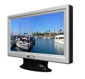 Wide Screen LCD TV. 3D rendered wide screen TV on white Stock Photo