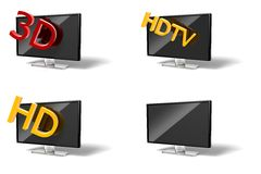 Wide screen modern TV icon collection Royalty Free Stock Image