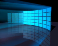 Wide screen monitor panel walls vector illustration