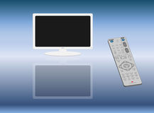 Wide screen monitor and remote control Stock Photography