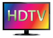 Wide screen TV. Vector illustration of a high definition TV with a colorful rainbow background Royalty Free Stock Images
