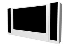 Wide screen TV set. Isolated on white vector illustration