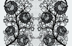 Wide seamless black lace ribbon with roses. Royalty Free Stock Photography