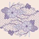 Wide seamless lace ribbon with flowers. Royalty Free Stock Photography