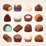 Wide selection of chocolate sweets Stock Photo