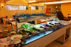 Wide selection of fresh salads at a buffet bar Stock Photography