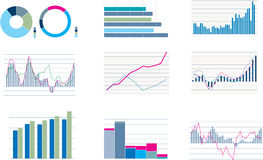 Wide selection of styles of bar and pie graphs Stock Photo