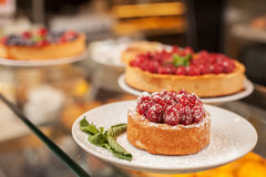 Wide selection of sweet cakes in bakehouse Stock Photo