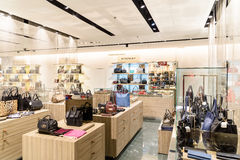 Wide Selection Of Woman Bags In Shopping Mall Store Inside Royalty Free Stock Photos