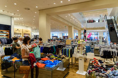Wide Selection Of Woman Clothes In Shopping Mall Stock Images