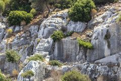 Wide shoot of historical stairs which belongs to Lycian people near Mediterranean sea royalty free stock photography