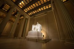 The Wide Shot of Abraham Lincoln. A wide shot of Abraham Lincoln at night in Washington DC Royalty Free Stock Photography