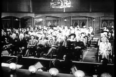 Wide shot of audience watching performance in theater stock footage