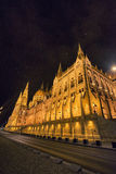 Wide shot of Budapest Parliament in Hungary at night on the Danu. Wide shot of Budapest Parliament Hungary at night on the Danube river Royalty Free Stock Image