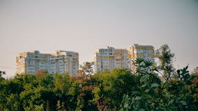Wide shot of buildings and urban park in Ukraine. High buildings above the trees in sunny day stock video footage