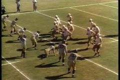 Wide shot of college football game stock footage