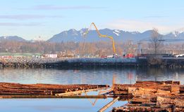 Vancouver Construction on Fraser River stock photography