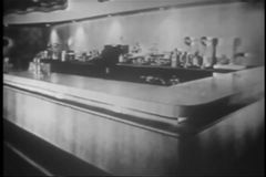 Wide shot of empty counter in vintage diner stock video footage