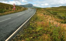 Wide shot of empty road, curve, bumps and reduce speed now sign royalty free stock images