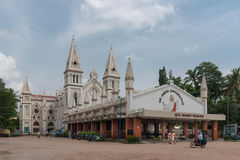 Wide shot of the entire Saint Joseph church in Dindigul. Dindigul, India - October 23, 2013: Saint Joseph Church. Wide shot of the entire white church building Royalty Free Stock Image