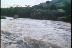 Wide shot of flowing river stock footage
