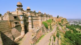 The Famous Gwalior Fort. Wide shot of Gwalior Fort entrance.A hill fort near Gwalior, Madhya Pradesh, central India stock video
