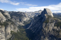 Wide shot of Half Dome and Yosemite Valley Stock Image