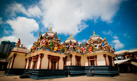 A wide shot of a hindu temple with cravings Stock Photography