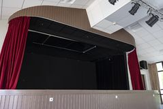 Stage With Red Curtains And Spot Lights royalty free stock photos