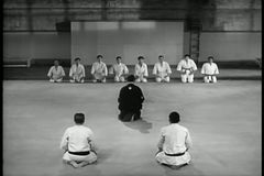 Wide shot martial arts training class stock footage