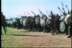 Wide shot medieval soldiers on the attack stock video footage