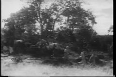 Wide shot men on safari stock footage