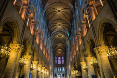 Wide shot of Notre Dame cathedral interior Royalty Free Stock Photo
