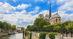 Wide shot of Notre-Dame cathedral in Paris, France Stock Photo