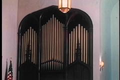 Wide shot of organ pipes in church stock video