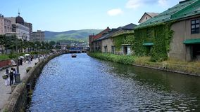 Wide shot of the otaru river canal at japan hokkaido sapporro stock video footage