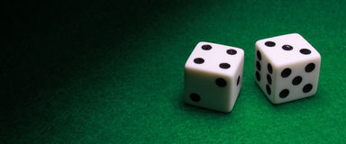 Wide Shot Pair of Dice stock images