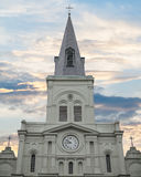 Wide shot of Saint louis Cathedral in New Orleans. Saint louis Cathedral in French Quarter of New Orleans, Louisiana with cloudy sky Royalty Free Stock Images