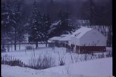 Wide shot of snow covered town stock video