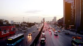 Wide Shot Time lapse Traffic on city road at night. 1920x1080 stock footage
