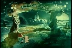 Wide shot two children entering Dream Land stock footage