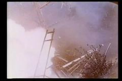 Wide shot of wagon exploding stock video