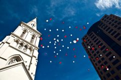 Shot of wedding balloon flying in the sky Stock Images
