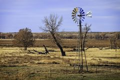 Wide shot of an windmill in eastern Colorado Stock Photos