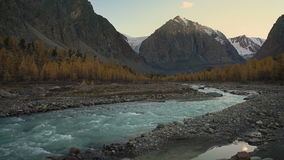 Wide Siberian Mountain River Landscape. Blue Water Stream Slowly Flowing Through The Mountain Canyon In Altai Russia On A Beautiful Summer Day stock video