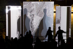 The Wide/Side interactive light installation by the Joao Martinho Moura at Cihelna at the Prague Signal light festival Stock Photo