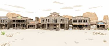 Wide side view of a rustic antique Low Polygon Western town with various businesses. royalty free stock photography