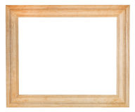 Wide simple wooden picture frame. With cut out canvas isolated on white background Stock Photo